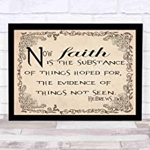 cupGTR :) Bible Wall Art—Perfect Christian Gift - with Frame - Size14x12in -Hebrews 111, Now Faith is The Substance Hoped for, Evidence of Things Not Seen