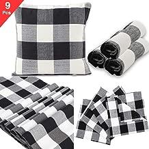 TUOWEI 9 Pcs Farmhouse Buffalo Pillow Covers(18 x 18),Retro Farmhouse Tartan Buffalo Table Cloths(72 x 12),Cotton Cloth Napkin for Dinners or BBQ,Parties