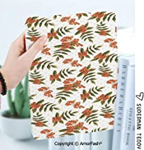 Case for Galaxy Tab A 8.0 Inch SM-T380/T385 2017,Anti Slip Kids Friendly,Rowan Botanical Foliage Nature Pattern with Berries on Soft Pink Dots Decorative