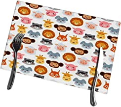 AXTUXDELL Dining Table Placemats Set of 4 Animal Emotion Avatar Icons Kitchen Place Mats 12