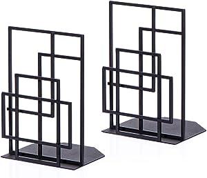 Book Ends Heavy Duty, Decorative Black Metal Bookends Supports for Shelves, Unique Window Lattice Design