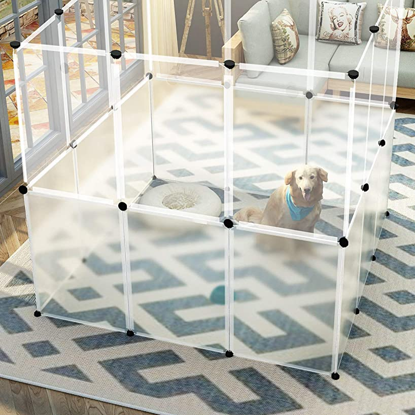 JYYG Pet Playpen, Small Animal Cage Indoor Portable Metal Wire Yard Fence for Small Animals, Guinea Pigs, Rabbits Kennel Crate Fence Tent, Black, PET-G (Transparent White)