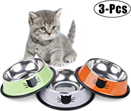 Flysea Stainless Steel Pet Cat Bowl, Cat Feeding Bowl Food Water Bowls with Non-Slip Rubber Base for Puppy Kitten Small Dogs Cats Animals