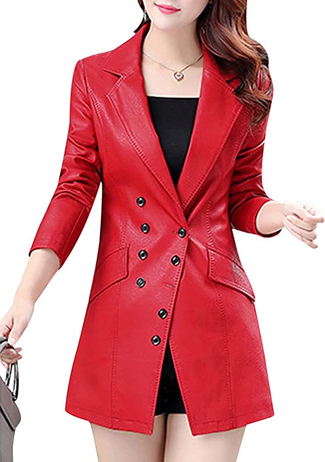 Tanming Women's Button Front Faux Leather Ranking TOP11 Coat Jacket Large special price Blazer