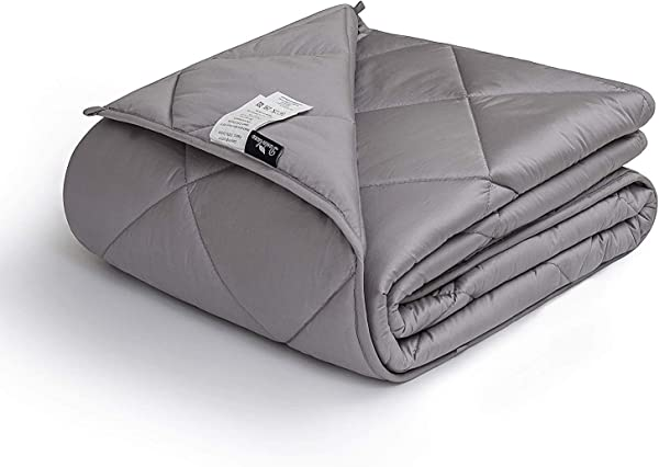 Downluxe Weighted Blanket For Adult 12 Lbs 48 X72 Grey 400TC Egyptian Cotton Material Heavy Blankets With Premium Glass Beads