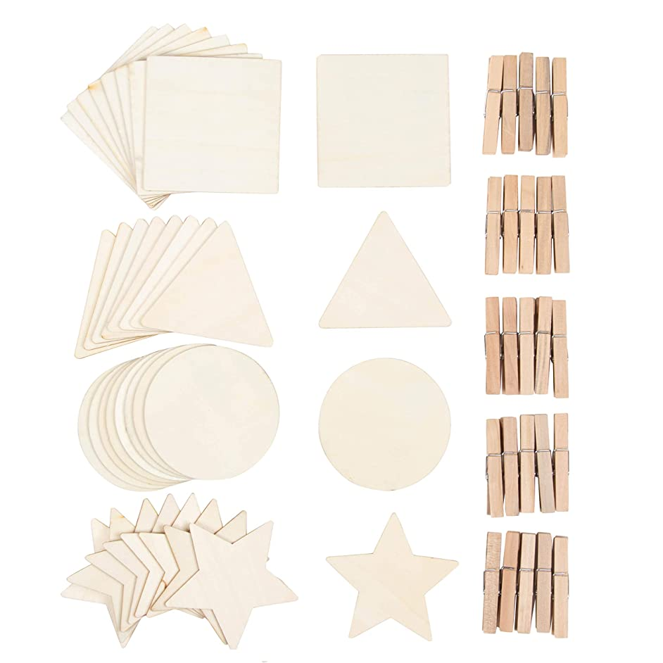 60-Piece Unfinished Wood Shapes Assortment with Clothespins - 4-Inch Square Circle Star Triangle Cutouts, for Kids DIY Craft