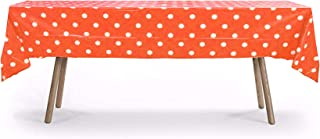 12 Packs of Polka Dot Table Cover, Plastic Rectangular Pool Patio Party Disposal Table Cover (Orange)