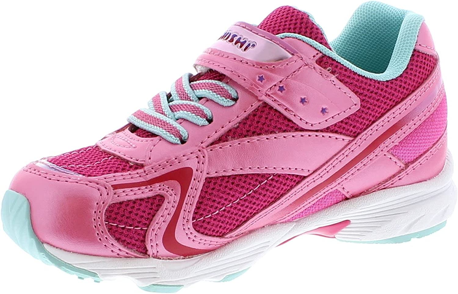 TSUKIHOSHI 3537 Glitz Strap-Closure Machine-Washable Child Sneaker Shoe with Wide Toe Box and Slip-Resistant, Non-Marking Outsole - Hotpink/Mint, 11 Little Kid (4-8 Years)
