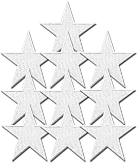 Iron On Patches - White Star Patch 10 pcs Iron On Patch Embroidered Applique Star S-6 1.49 x 1.49 inches S