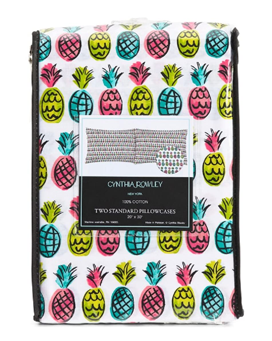 Cynthia Rowley Colorful Pineapples Set of 2 Two Standard Pillowcases - 100% Cotton 20