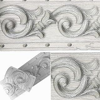 Papel pintado 3D con diseño de flores grises, autoadhesivo, impermeable, para baño, sala de estar, cocina, pared de 10 cm ...
