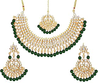 Crunchy Fashion Bollywood Style Traditional Indian Wedding Jewelry Necklace Earring with Maang Tikka Set for Women Girls