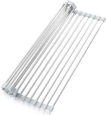 "Roll Up Dish Drying Rack, BENEECA Over The Sink Dish Drying Rack Stainless Steel Foldable Roll Up Dish Rack 17""(L) x 11.8""(W)"