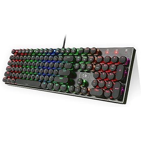 Redragon K556-RK RGB LED retroiluminado teclado de juego mecánico con interruptores marrones, 104 anti-ghosting estándar de las teclas retro vintage ...