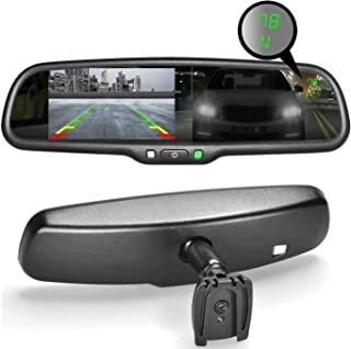 Master Tailgaters OEM Rear View Mirror with Ultra Bright 4.3 Auto Adjusting Brightness LCD + Auto Dimming Mirror + Compass & Temperature - Universal Fit (Complete Replacement)