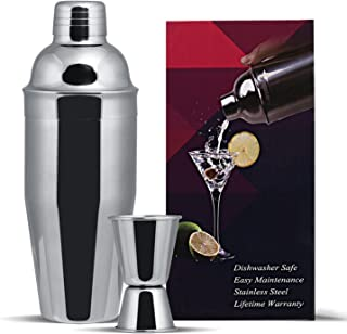 GWHOLE Cocktail Shaker Set 750 ml with Built-in Strainer, a Free Double Measurer Jigger & Recipes (e-Book),