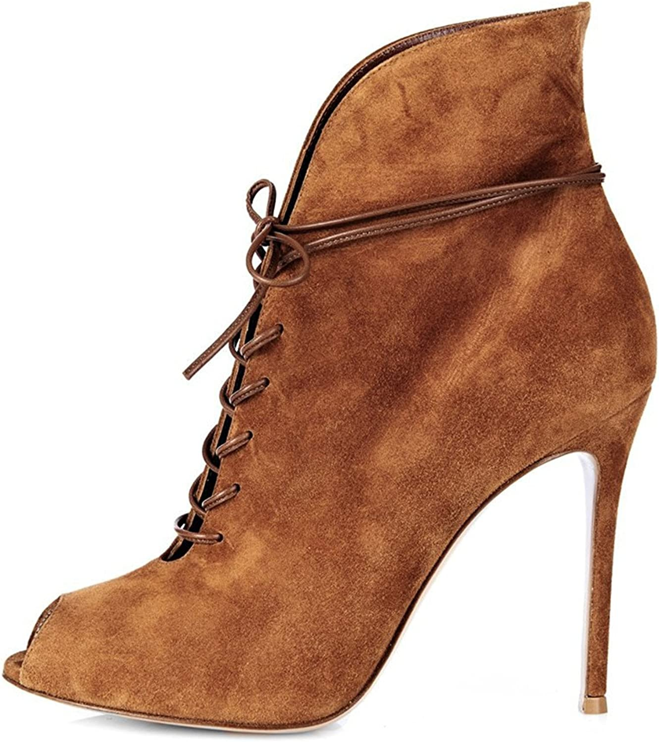 Reinhar Popular Toe Lace up High Slim Stiletto Ankle Boots Tan Brown