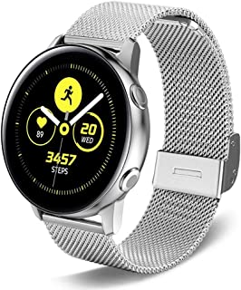 SPINYE Band Compatible for Galaxy Watch Active, 20mm Stainless Steel Metal Mesh Replacement Strap for Samsung Gear Sport/G...