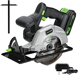 "GALAX PRO DC-20V 5-1/2"" Cordless Circular Saw with 2Pcs Blades (18T+48T), 3800RPM Variable Speed, Includes 2.0Ah Lithium Battery and Fast Charger, Max Cutting Depth 1-5/8""(90°), 1-7/16""(45°)"