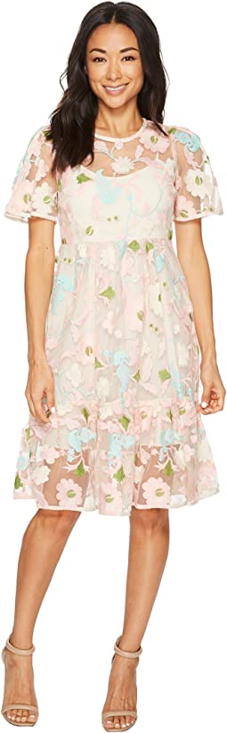 Floral Embroidered Midi Dress with Short Split Sleeve