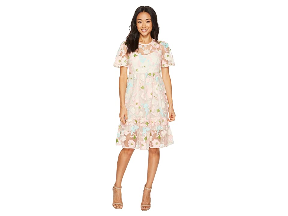 Donna Morgan Floral Embroidered Midi Dress with Short Split Sleeve (Pink/Mint Multi) Women