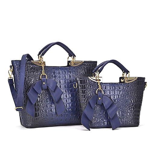 8f32ded8bec Large Leather 2 Pieces Set Handbag Top Handle Shoulder Bag Satchel Tote  Purse