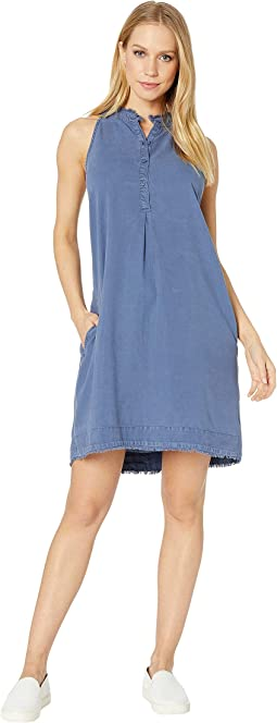 Frayed Pleat Front Halter Dress
