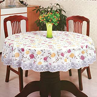 SEPARO Round Vinyl Oilcloth Lace Tablecloth Waterproof Plastic Wipeable Spillproof Peva Reusable Heavy Duty PVC Tablecloth for Picnic (Red+Yellow Flower, 60