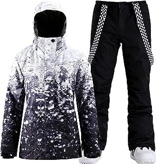 GSOU SNOW Women's Waterproof Ski Jackets Pants Suit Windproof Insulated Hoodie