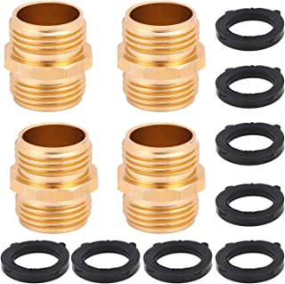 Xgood 4 Packs Double Male Connector Adapter 3/4 Inch Garden Hose Quick Connector to Hose Fitting Connect with Extra 8 Pieces Washer for Home Garden Supplies