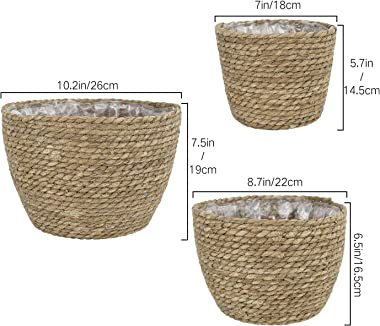 La Jolíe Muse Seagrass Planter Basket Indoor, Flower Pots Cover, Plant Containers, Natural(3-Pack)