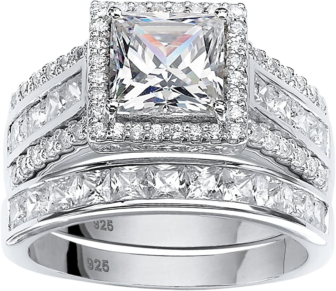 Platinum over Sterling lowest price Silver Princess Cut Zirco Cheap sale Round and Cubic