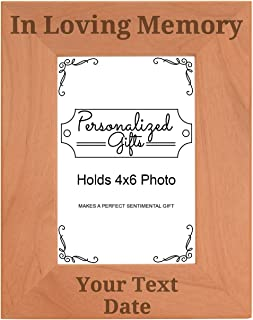 ThisWear Custom Name Remembrance Gifts Mom Dad Custom Name in Loving Memory Engraved Remembrance Gifts Natural Wood Engraved 4x6 Portrait Picture Frame Wood