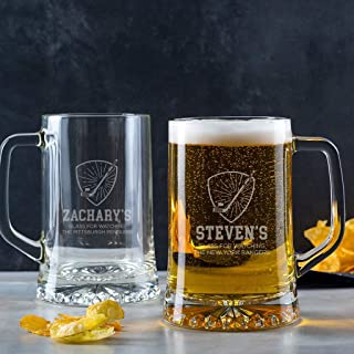 Hockey Beer Mug - Personalized Hockey Gifts for Men Him Dad Husband - Unique Fathers Day - Birthday - Christmas Gift - Engraved Tankard Pint Glass with Handle
