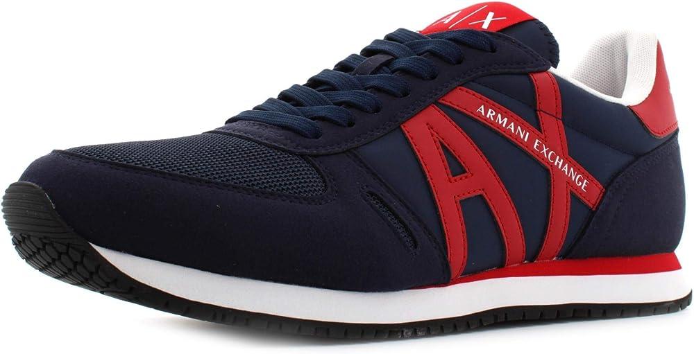 Armani exchange rio retro running, scarpe da ginnastica uomo,sneakers,pelle scamosciata e tela XUX017