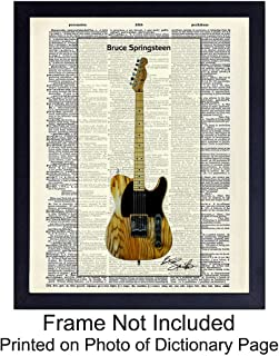 Bruce Springsteen Guitar Dictionary Wall Art Print - Vintage (8x10) Ready to Frame Photo - Great Gift for 80s Music, Rock n Roll and The Boss Fans - Cool Home Decor