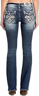 Women's Crossed in Camo Embellished Mid-Rise Bootcut Jeans