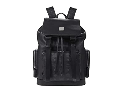 MCM Brandenburg Visetos Leather Mix Backpack Medium (Black) Backpack Bags