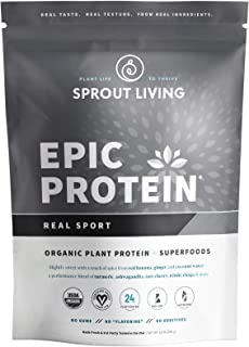 Sprout Living Epic Protein Powder, Real Sport, Organic Plant Protein, Gluten Free, No Additives, 24 Grams Protein, Perform...