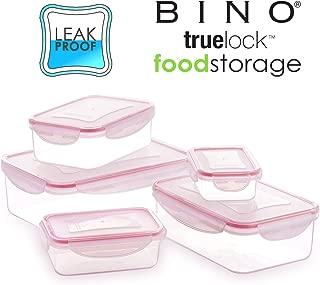 BINO TRUELOCK 10-Piece Rectangular Leak-Proof Plastic Snap Lock Food Storage Container Set with Lids, Light Pink