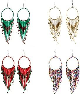4 Pairs Handmade Seed Beaded Circle Drop Earrings Bohemian Long Tassel Dangle Earrings for Women
