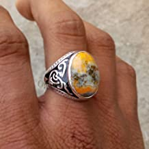 Natural Multicolor Jasper Ring, Solid 925 Sterling Silver Ring, Genuine Gemstone Jewelry, Oval Smooth Gemstone, Healing Gemstone Ring, Bumble Bee Jasper Ring, Engraved Arabic Ring
