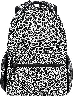Mochila Escolar para Adolescentes y niñas, Color Negro, Blanco, Piel de Leopardo, Mochila de Viaje, Bolsa de Senderismo para Mujeres y Hombres