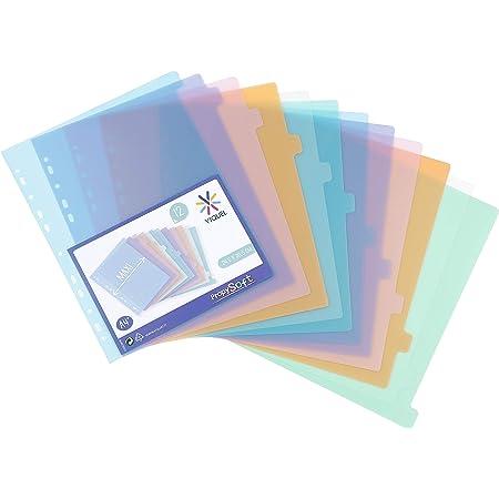 Viquel - Lot de 12 intercalaires en plastique - Maxi format (24,5x30,5cm) - Pour classeur A4 Maxi format ou classeur à levier