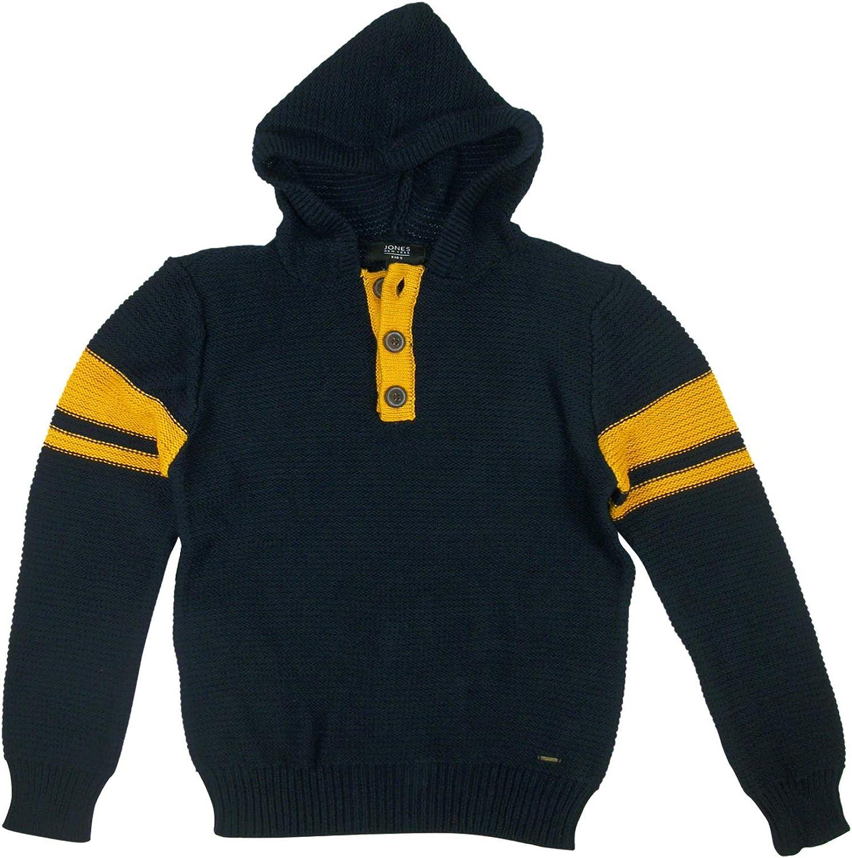 Jones New York Boys Hooded Button Henley Pullover Sweater