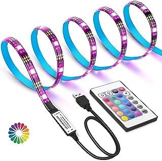 WEKNOWU USB LED TV Hintergrundbeleuchtung Kit mit Fernbedienung, LED Band Lichter 2m für 40 60 Zoll TV – 16 Farben SMD 5050 LEDs Ambiente Beleuchtung für HDTV