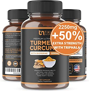 Organic Turmeric Curcumin with BioPerine, Ginger & Triphala 2250mg, 95% Curcuminoids. Maximum Potency, Joint Pain Relief, ...