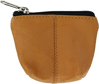 CTM Basic Leather Coin Pouch with Zipper