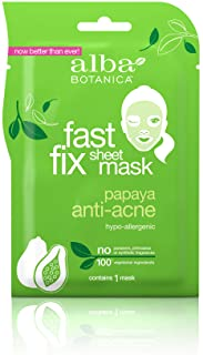Alba Botanica Fast Fix Sheet Mask, Papaya Anti-Acne, Pack of 8