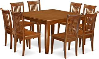 PFPO9-SBR-W 9 Pc Dining room set for 8-Kitchen Table with Leaf and 8 Dinette Chairs.